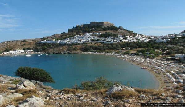 View towards Lindos Acropolis in Rhodes, Greece